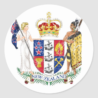 New Zealand Coat Of Arms Round Sticker
