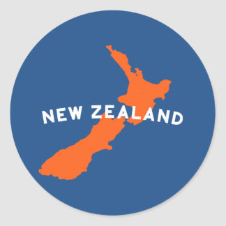 New Zealand Country Silhouette Classic Round Sticker