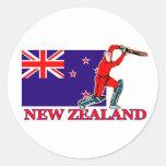 New Zealand Cricket Player Round Stickers