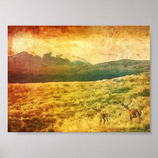 New Zealand Deer Landscape Poster