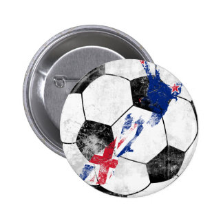 New Zealand Distressed Soccer 2 Inch Round Button