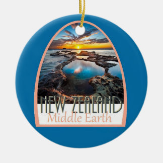 NEW ZEALAND Double-Sided CERAMIC ROUND CHRISTMAS ORNAMENT