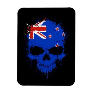New Zealand Dripping Splatter Skull Rectangular Magnet