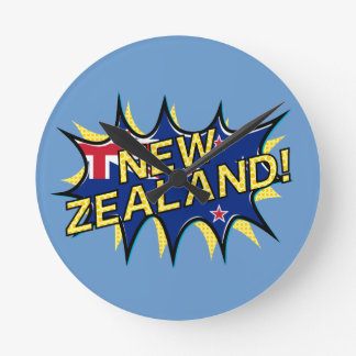 New Zealand flag comic style kapow star Round Clock