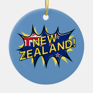 New Zealand flag comic style kapow star Round Ceramic Ornament