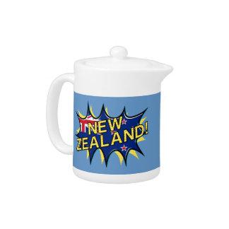 New Zealand flag comic style kapow star Teapot
