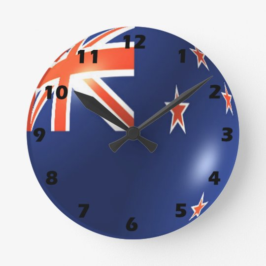 New Zealand Flag Design Round Clock
