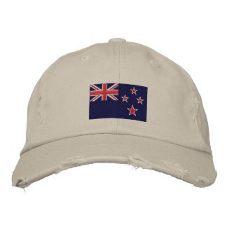 New Zealand flag embroidered twill hat