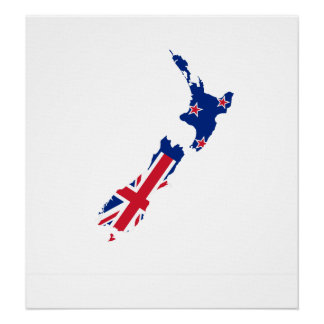 New Zealand Flag Map full size Posters