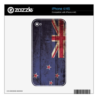 New Zealand Flag on Old Wood Grain Decal For The iPhone 4S