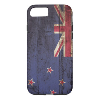 New Zealand Flag on Old Wood Grain iPhone 8/7 Case