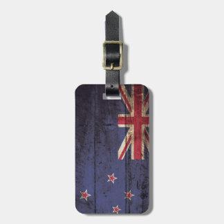 New Zealand Flag on Old Wood Grain Luggage Tag