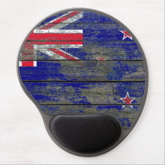 New Zealand Flag on Rough Wood Boards Effect Gel Mouse Pad