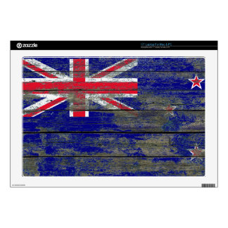 """New Zealand Flag on Rough Wood Boards Effect 17"""" Laptop Decal"""