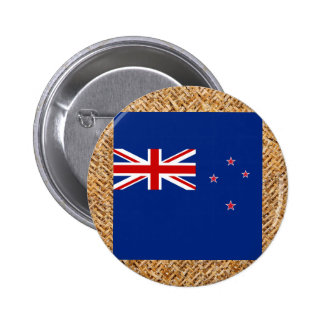New Zealand Flag on Textile themed Button
