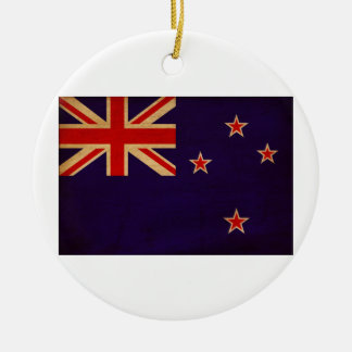 New Zealand Flag Double-Sided Ceramic Round Christmas Ornament