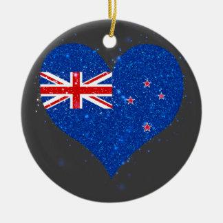New Zealand Flag Shining Beautiful Double-Sided Ceramic Round Christmas Ornament