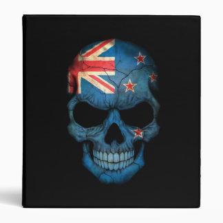 New Zealand Flag Skull on Black Vinyl Binders