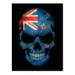 New Zealand Flag Skull on Black Postcard