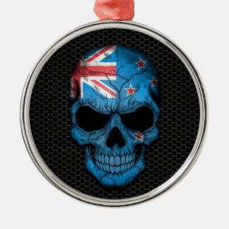 New Zealand Flag Skull on Steel Mesh Graphic Metal Ornament