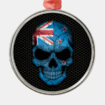 New Zealand Flag Skull on Steel Mesh Graphic Christmas Tree Ornament