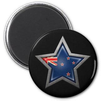 New Zealand Flag Star on Black Fridge Magnet