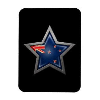 New Zealand Flag Star on Black Magnets