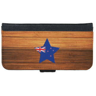 New Zealand Flag Star on Wood iPhone 6 Wallet Case