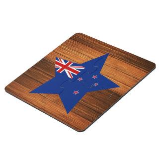 New Zealand Flag Star on Wood Puzzle Coaster