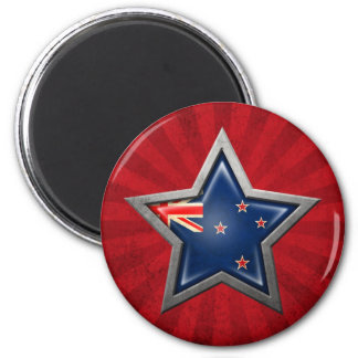 New Zealand Flag Star with Rays of Light Fridge Magnets