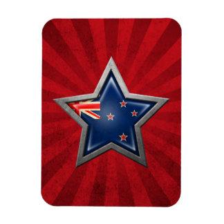 New Zealand Flag Star with Rays of Light Vinyl Magnet