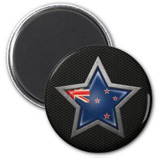New Zealand Flag Star with Steel Mesh Effect Fridge Magnet