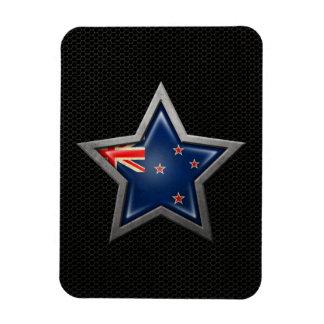 New Zealand Flag Star with Steel Mesh Effect Vinyl Magnet