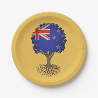 New Zealand Flag Tree of Life Customizable 7 Inch Paper Plate