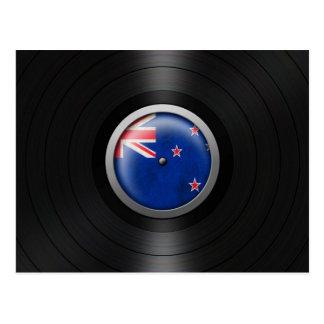 New Zealand Flag Vinyl Record Album Graphic Postcard
