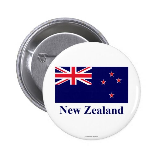 New Zealand Flag with Name 2 Inch Round Button