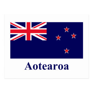 New Zealand Flag with Name in Maori Postcard