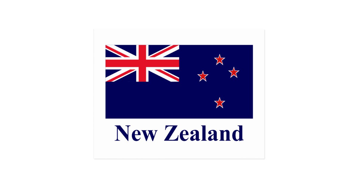 New Zealand Flag With Name Postcard Zazzle Com