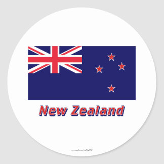 New Zealand Flag with Name Round Sticker