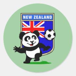 Round Sticker with New Zealand Football Panda design