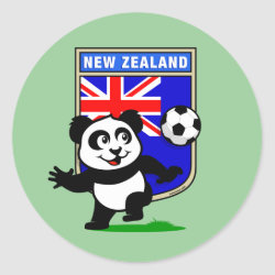 Round Sticker with New Zealand Football Panda design