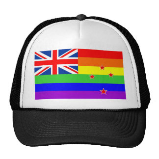 new zealand gay proud rainbow flag homosexual trucker hat