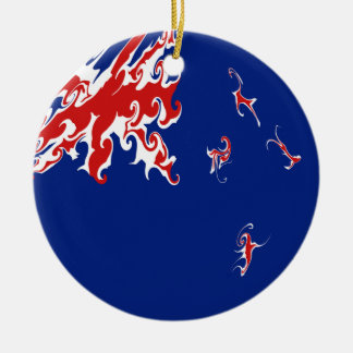 New Zealand Gnarly Flag Double-Sided Ceramic Round Christmas Ornament