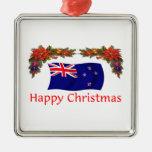 New Zealand Happy Christmas Square Metal Christmas Ornament