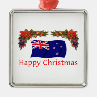New Zealand Happy Christmas Square Metal Christmas Ornament