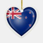New Zealand Heart Flag on White Christmas Tree Ornament