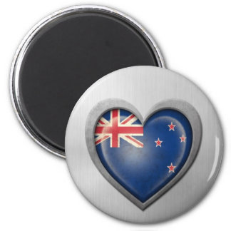 New Zealand Heart Flag Stainless Steel Effect Refrigerator Magnets