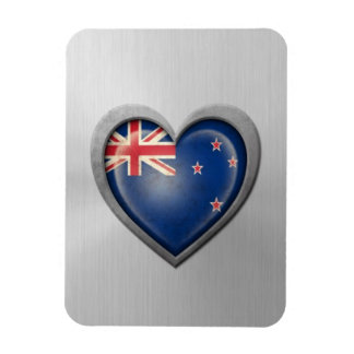 New Zealand Heart Flag Stainless Steel Effect Magnets