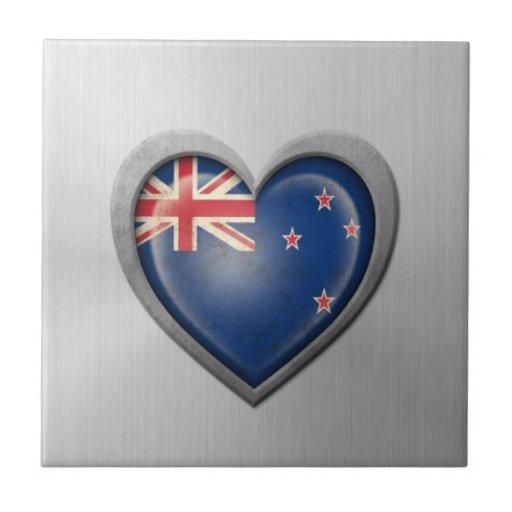 New Zealand Heart Flag Stainless Steel Effect Tiles