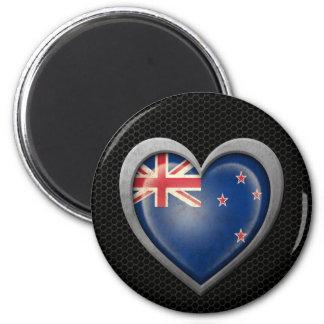 New Zealand Heart Flag Steel Mesh Effect Fridge Magnet